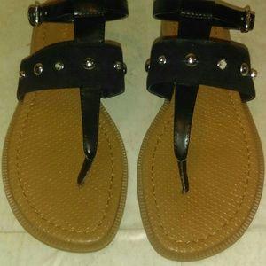 Nine West Gasbe Black Studded Flat Thong Sandals